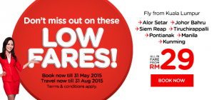 airasia booking may 2015  - low fares!