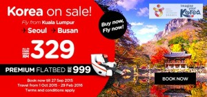 AirAsia Airline Malaysia Online Booking And Promotions Until 27 September 2015 From Kuala Lumpur to Korea