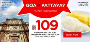 AirAsia MALAYSIA PROMO October 2015-Book cheap flights online to Goa or Pattaya