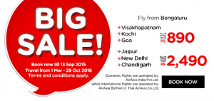 airasia promotion and airasia booking september 2015 from bengaluru india