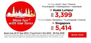 airasia promotion from india september 2015 - fly from kochi-bengaluru-goa-chennai-tiruchirappali-hyderabad