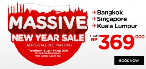 AirAsia Airlines Indonesia Promotions January 2016 - massive new year sale accross all destinations