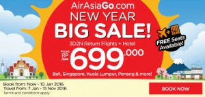 AirAsiaGo Promotions January 2016 - new year big sales from RP 699.000
