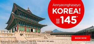 airasia airlines singapore promotions january 2016 - fly from singapore to korea