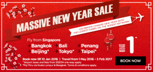 airasia airlines singapore promotions january 2016 - massive new year sale-base fare from SGD 1
