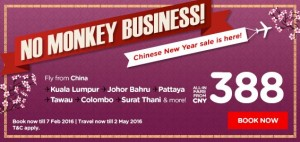 airasia promotion chinese new year 2016 BIG SALE  from CNY 388