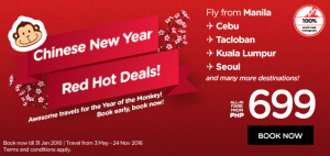 airasia promotion chinese new year 2016 BIG SALE from PHP 699
