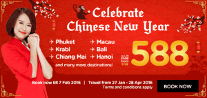 airasia promotion chinese new year 2016 from THB 588