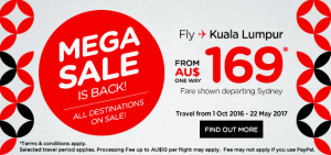 airasia promotions australia march 2016 - mega sales from AUS 169 from sydney australia