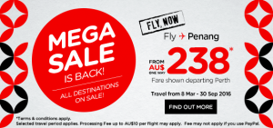 airasia promotions australia march 2016 - mega sales from AUS 238 from Perth