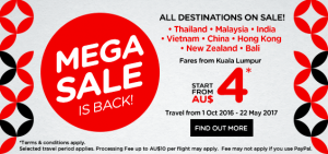 airasia promotions australia march 2016 - mega sales from AUS 4 to Asia