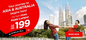 airasia promotions bangladesh march 2016 - from dhaka to asia and australia from USD 199