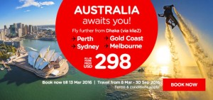 airasia promotions bangladesh march 2016 - from dhaka to perth-gold coast-sydney-melbourne