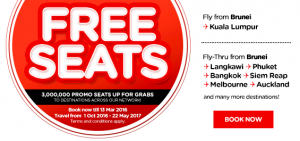 airasia promotions brunei march 2016 - 3 million free seats from brunei to kl-thailand-mebourne-auckland