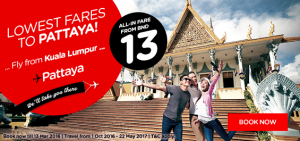 airasia promotions brunei march 2016 - lowest fares to pattaya from bnd 13