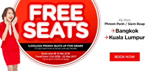 airasia promotions cambodia march 2016 - 3 million free seats from phnom penh or siem reap