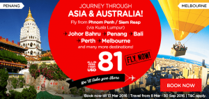 airasia promotions cambodia march 2016 - fly from phnom penh - siem reap to asia-australia