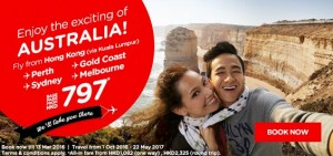 airasia promotions hong kong march 2016 - from hong kong to perth-gold coast-sydney-melbourne