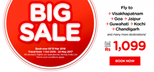 airasia promotions india march 2016 - big sales to visakhapatnam-goa-jaipur-guwathi-kochi-chandigarh