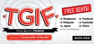 airasia promotions indonesia march 2016 - thank God its free seats to singapore-malaysia-japan-australia-china
