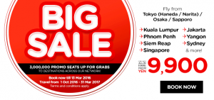 airasia promotions japan march 2016 - 3 million free seats from tokyo-osaka-sapporo
