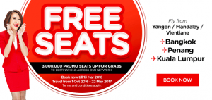 airasia promotions laos march 2016 - 3 millions free seats from vientiane