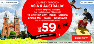 airasia promotions laos march 2016 - fly from vientiane to asia and australia