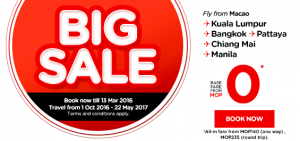 airasia promotions macau march 2016 - big sale from macau mop 0