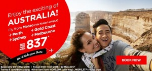 airasia promotions macau march 2016 - fly from macau to australia