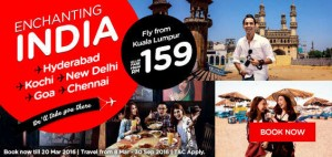 airasia promotions malaysia march 2016 - fly from kuala lumpur to india from RM159