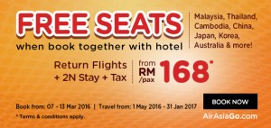 airasia promotions malaysia march 2016 - free seats by airasiago from RM168