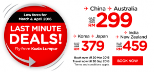 airasia promotions malaysia march 2016 - low fares march-april 2016 to china-australia-korea-japan-india-new zealand