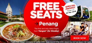 airasia promotions myanmar march 2016 - special promo free seats from yangon