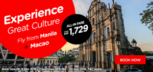 airasia promotions philippines march 2016 - fly from manila to macau