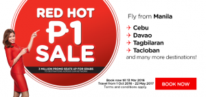 airasia promotions philippines march 2016 - red hot 3 millions promo seats from manila