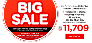 airasia promotions sri lanka march 2016 - 3 millions promo seats from colombo