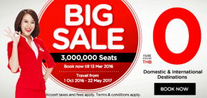 airasia promotions thailand march 2016 - 3 million big sales seats with zero cost