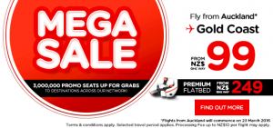 airasia promtions new zealand march 2016 - 3 millions promo seats mega sales from auckland to gold coast