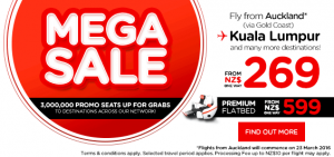 airasia promtions new zealand march 2016 - 3 millions promo seats mega sales from auckland to kuala lumpur