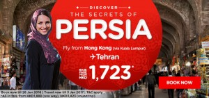 airasia hong kong airlines promotions june 2016-hong to tehran