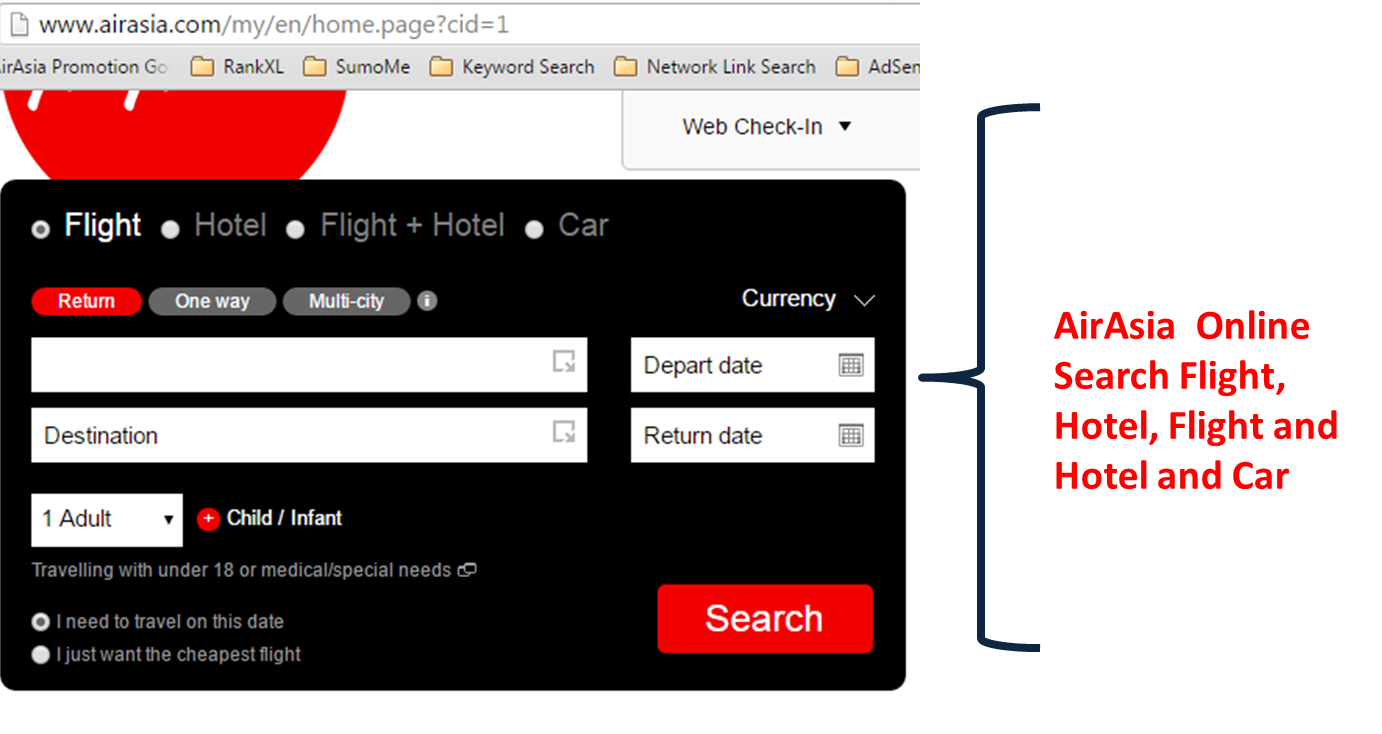 Airasia Online Booking Search Flight Hotel And Car
