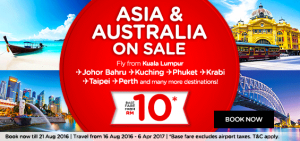 airasia booking august 2016-asia and australia on sale-base fare rm10