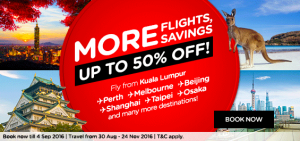 airasia promotion and online booking september 2016-more flights savings