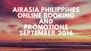airasia philippines online booking and promotion september 2016-enjoy cost saving