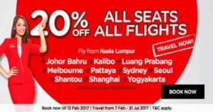 AirAsia promotion from Kuala Lumpur to Kuching Sarawak March 2017 - 20% off all seats all flights