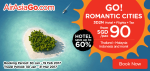 AirAsia Booking From Singapore to Korea 15-31 March 2017 - Go Romantic