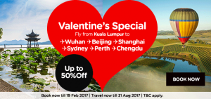 AirAsia Online Discount February 2017 Fly From Kuala Lumpur - Valentine's Special