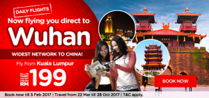 AirAsia Online Booking and Promotions February 2017 From Kuala Lumpur to International Destination - Wuhan